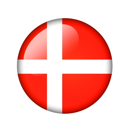 danish flag: The Danish flag. Round glossy icon. Isolated on white background. Stock Photo