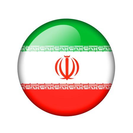 iranian: The Iranian flag. Round glossy icon. Isolated on white background. Stock Photo