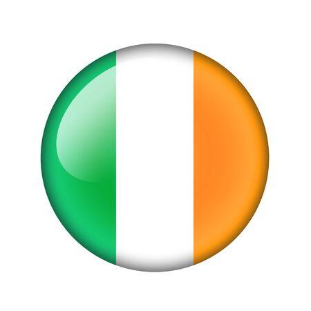 irish pride: The irish flag. Round glossy icon. Isolated on white background. Stock Photo