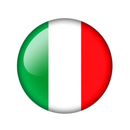 world flag: The Italian flag. Round glossy icon. Isolated on white background.