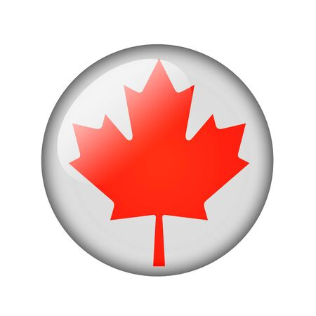 canadian icon: The Canadian flag. Round glossy icon. Isolated on white background.