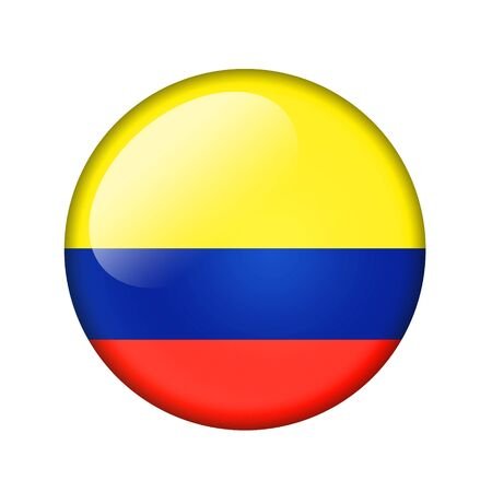colombian flag: The Colombian flag. Round glossy icon. Isolated on white background. Stock Photo