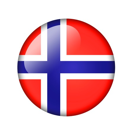 norwegian flag: The Norwegian flag. Round glossy icon. Isolated on white background.
