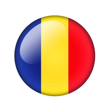 romania flag: The Romania flag. Round glossy icon. Isolated on white background. Stock Photo