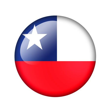 chile flag: The Chile flag. Round glossy icon. Isolated on white background.