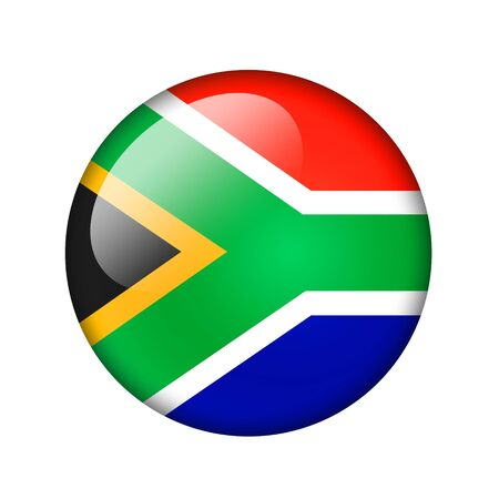 south africa flag: The Republic of South Africa flag. Round glossy icon. Isolated on white background.