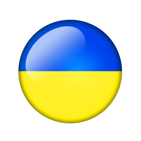 ukrainian flag: The Ukrainian flag. Round glossy icon. Isolated on white background.