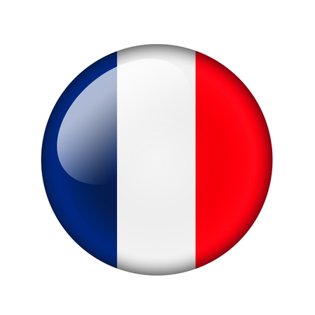 flag french icon: The French flag. Round glossy icon. Isolated on white background.