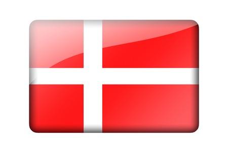 danish flag: The Danish flag. Rectangular glossy icon. Isolated on white background.
