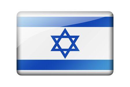 israeli flag: The Israeli flag. Rectangular glossy icon. Isolated on white background.