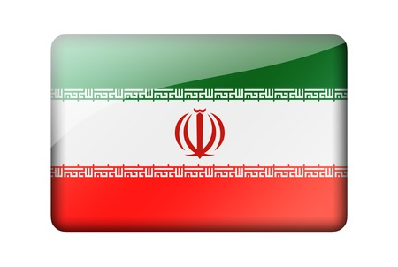 iranian: The Iranian flag. Rectangular glossy icon. Isolated on white background.