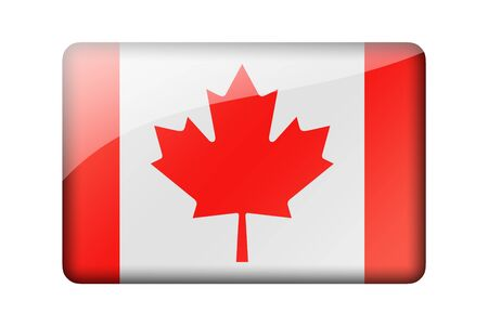 canadian flag: The Canadian flag. Rectangular glossy icon. Isolated on white background.