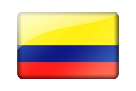 colombian flag: The Colombian flag. Rectangular glossy icon. Isolated on white background.