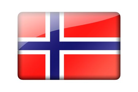 norwegian flag: The Norwegian flag. Rectangular glossy icon. Isolated on white background.