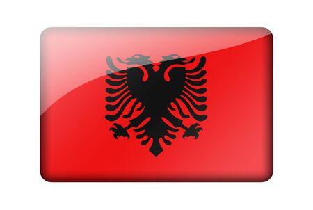 albanian: The Albanian flag. Rectangular glossy icon. Isolated on white background.