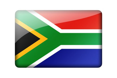 south africa flag: The Republic of South Africa flag. Rectangular glossy icon. Isolated on white background. Stock Photo