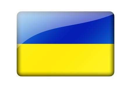 ukrainian: The Ukrainian flag. Rectangular glossy icon. Isolated on white background. Stock Photo