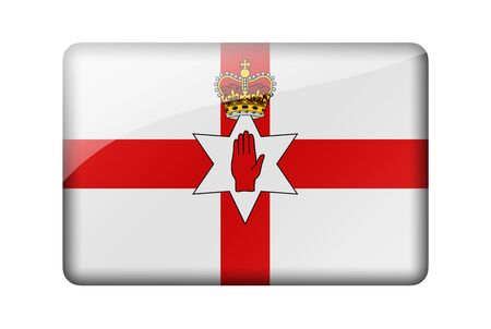 ulster: Flag of Northern Ireland. Rectangular glossy icon. Isolated on white background. Stock Photo