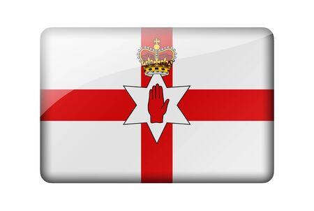 ulster: Flag of Northern Ireland. Rectangular glossy icon. Isolated on white background. Stock Photo