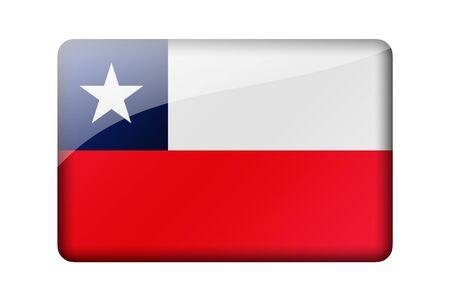 flag of chile: La bandera de Chile. Rectangular icono brillante. Aislado en el fondo blanco.