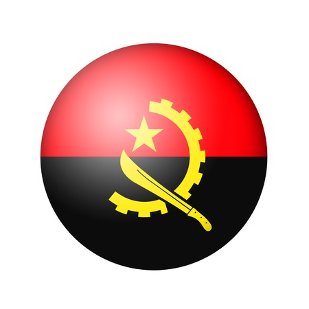 matte: The Angolan flag. Round matte icon. Isolated on white background. Stock Photo