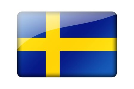 swedish: The Swedish flag. Rectangular glossy icon. Isolated on white background.