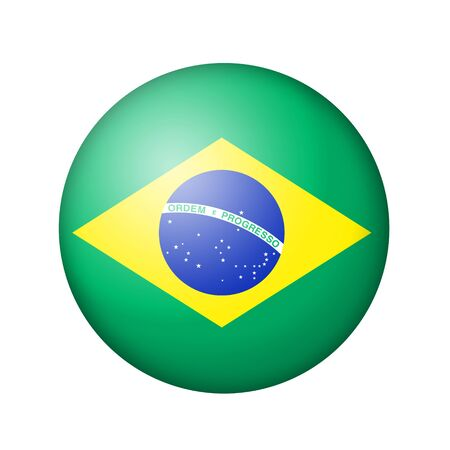 brazilian flag: The Brazilian flag. Round matte icon. Isolated on white background.