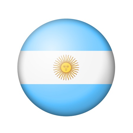 matte: The Argentine flag. Round matte icon. Isolated on white background.