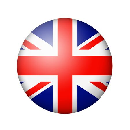 matte: The British flag. Round matte icon. Isolated on white background. Stock Photo