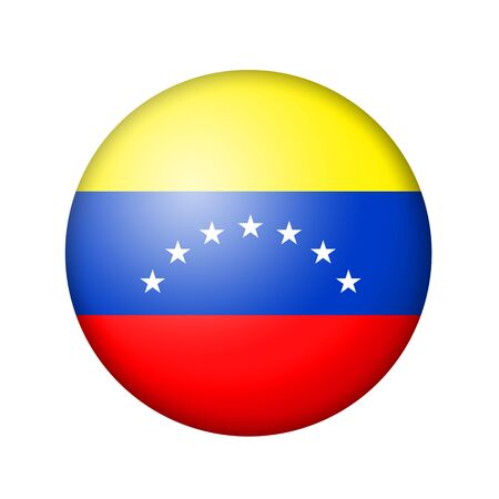 venezuelan: The Venezuelan flag. Round matte icon. Isolated on white background. Stock Photo