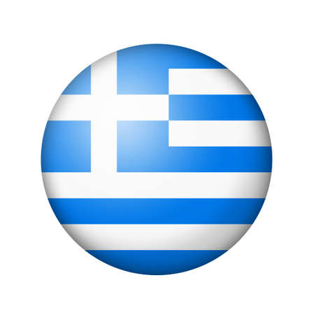 matte: The Greek flag. Round matte icon. Isolated on white background. Stock Photo