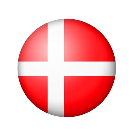 danish flag: The Danish flag. Round matte icon. Isolated on white background.