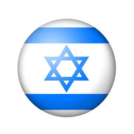 israeli: The Israeli flag. Round matte icon. Isolated on white background.