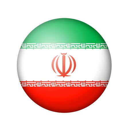 iranian: The Iranian flag. Round matte icon. Isolated on white background. Stock Photo