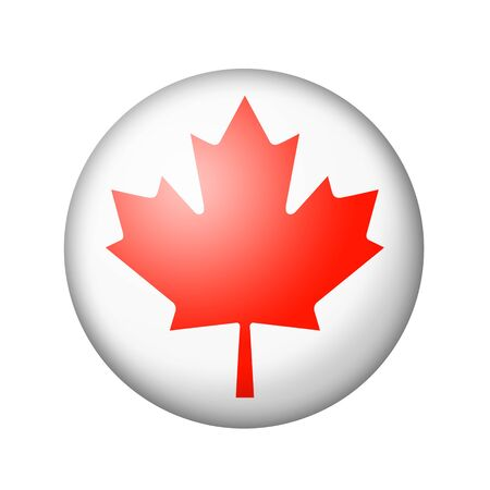 matte: The Canadian flag. Round matte icon. Isolated on white background.