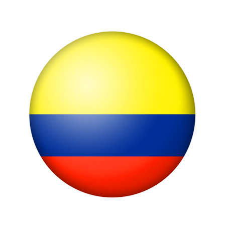 matte: The Colombian flag. Round matte icon. Isolated on white background.