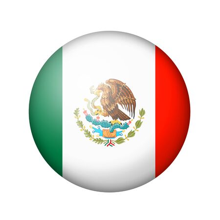 matte: The Mexican flag. Round matte icon. Isolated on white background.