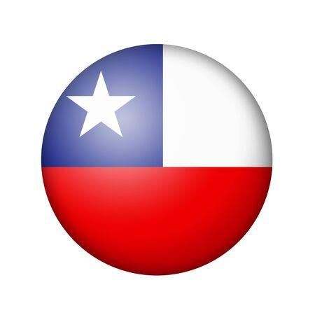 flag of chile: La bandera de Chile. icono mate ronda. Aislado en el fondo blanco.