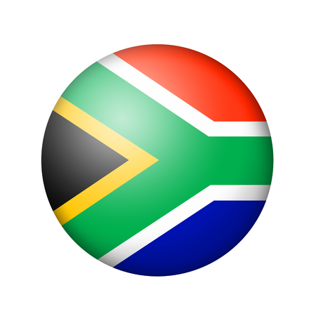 matte: The Republic of South Africa flag. Round matte icon. Isolated on white background.