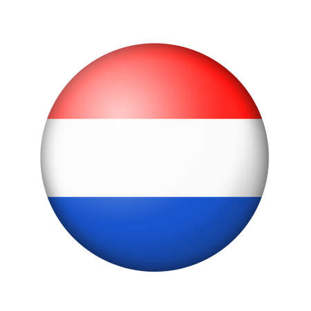 matte: The Netherlands flag. Round matte icon. Isolated on white background. Stock Photo