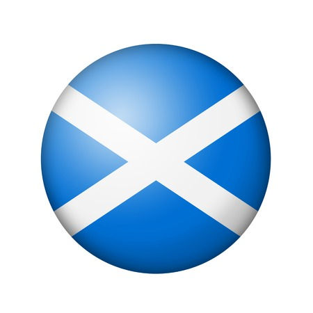 matte: The Scotland flag. Round matte icon. Isolated on white background.