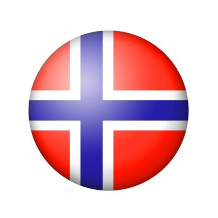 matte: The Norwegian flag. Round matte icon. Isolated on white background.