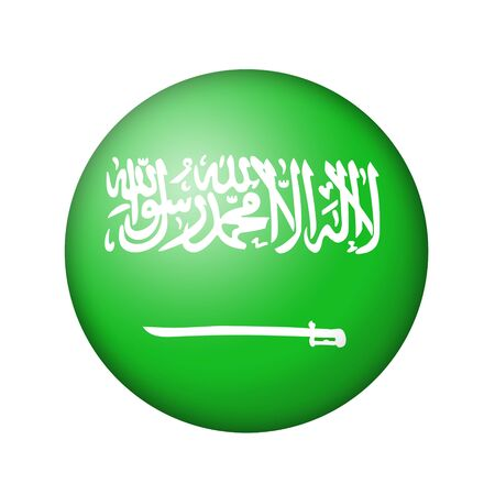 matte: The Saudi Arabia flag. Round matte icon. Isolated on white background.