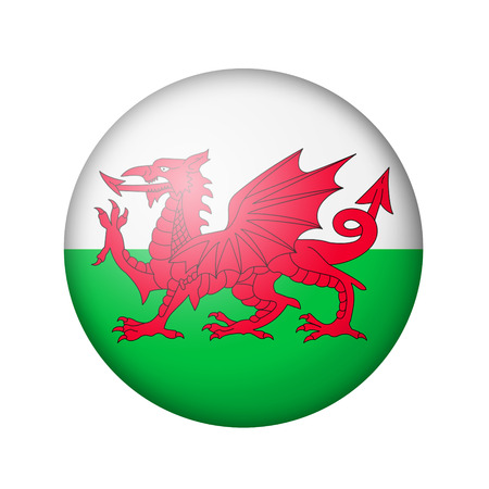 matte: Flag of Wales. Round matte icon. Isolated on white background.