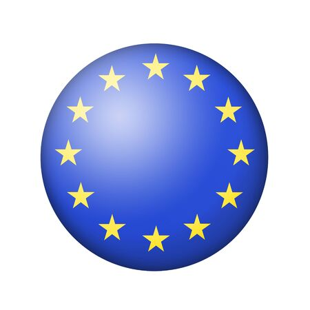 matte: The European Union Flag. Round matte icon. Isolated on white background.