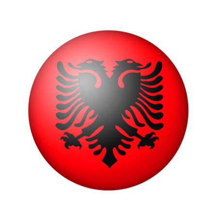 matte: The Albanian flag. Round matte icon. Isolated on white background. Stock Photo