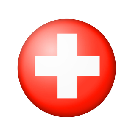 matte: The Swiss flag. Round matte icon. Isolated on white background.
