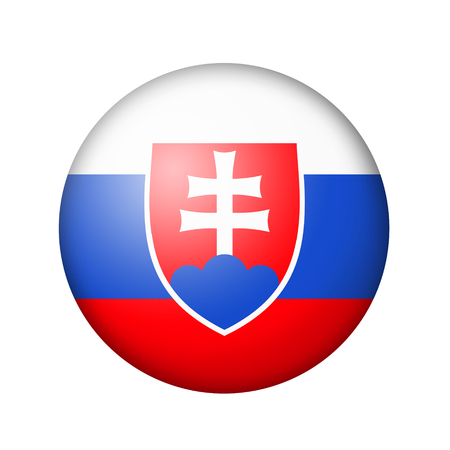 matte: The Slovakia flag. Round matte icon. Isolated on white background.
