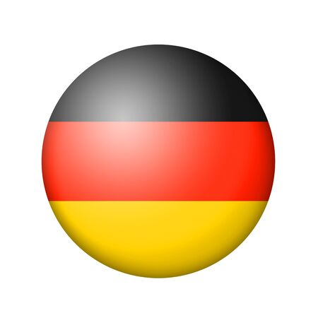 matte: The German flag. Round matte icon. Isolated on white background.