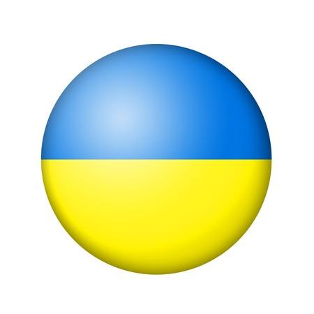 ukrainian flag: The Ukrainian flag. Round matte icon. Isolated on white background.